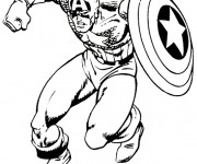 Coloriage Captain America en Action