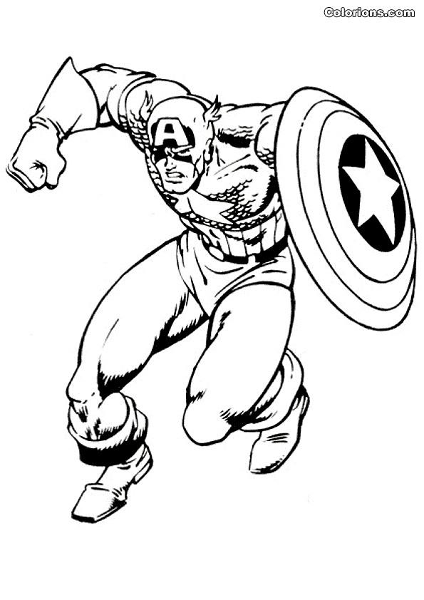 Coloriage et dessins gratuits Captain America en Action à imprimer