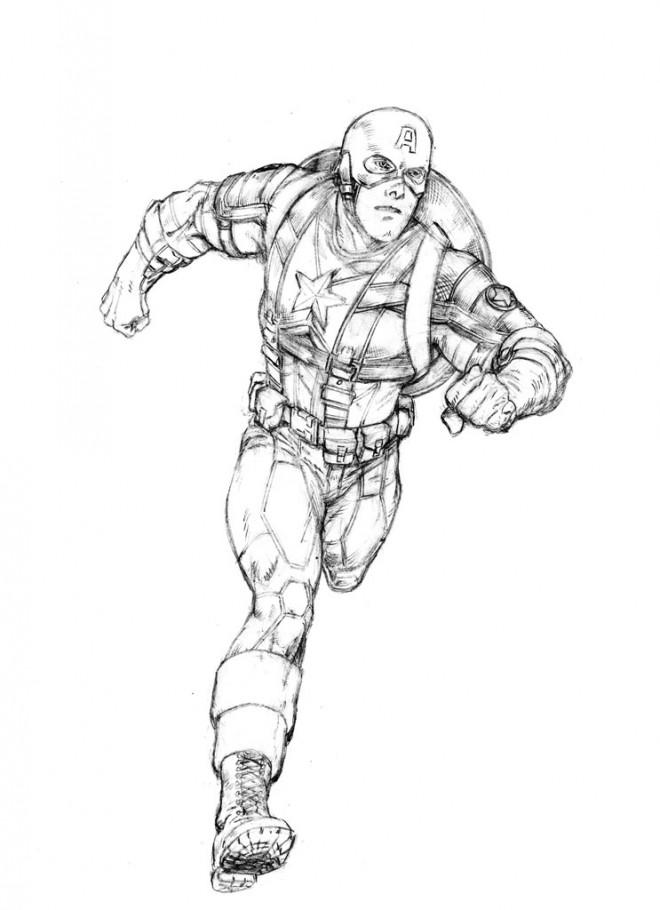 Coloriage et dessins gratuits Captain America en courant à imprimer