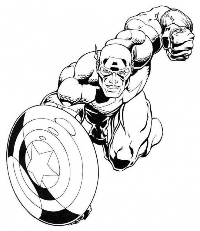 Coloriage et dessins gratuits Captain America en Ligne à imprimer