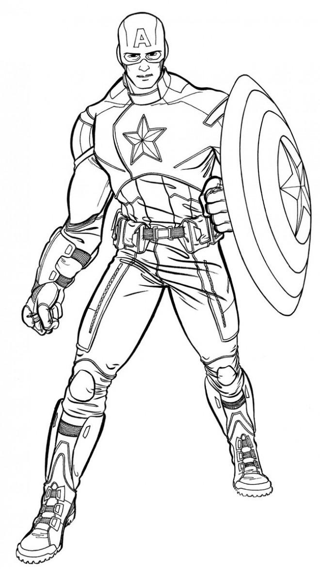 Coloriage et dessins gratuits Captain America en Vecteur à imprimer