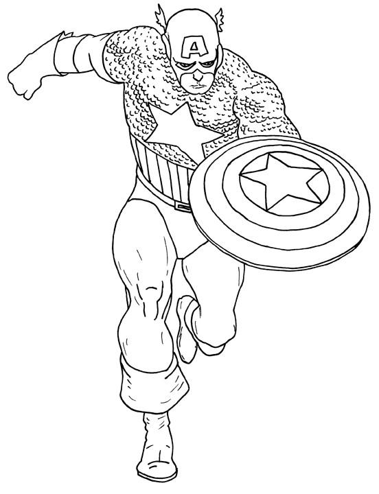 Coloriage et dessins gratuits Captain America simple à imprimer