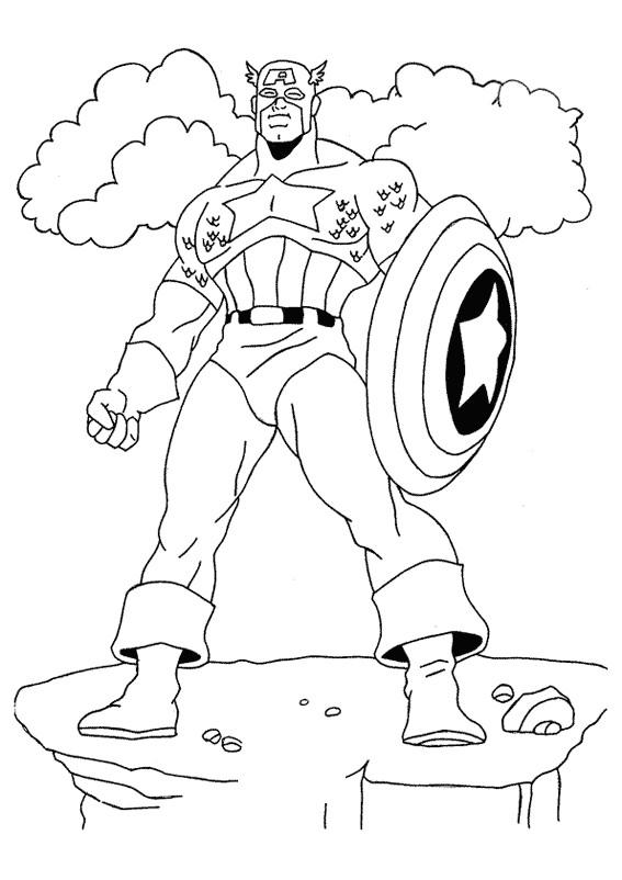 Coloriage et dessins gratuits Captain America sous Les Nuages à imprimer