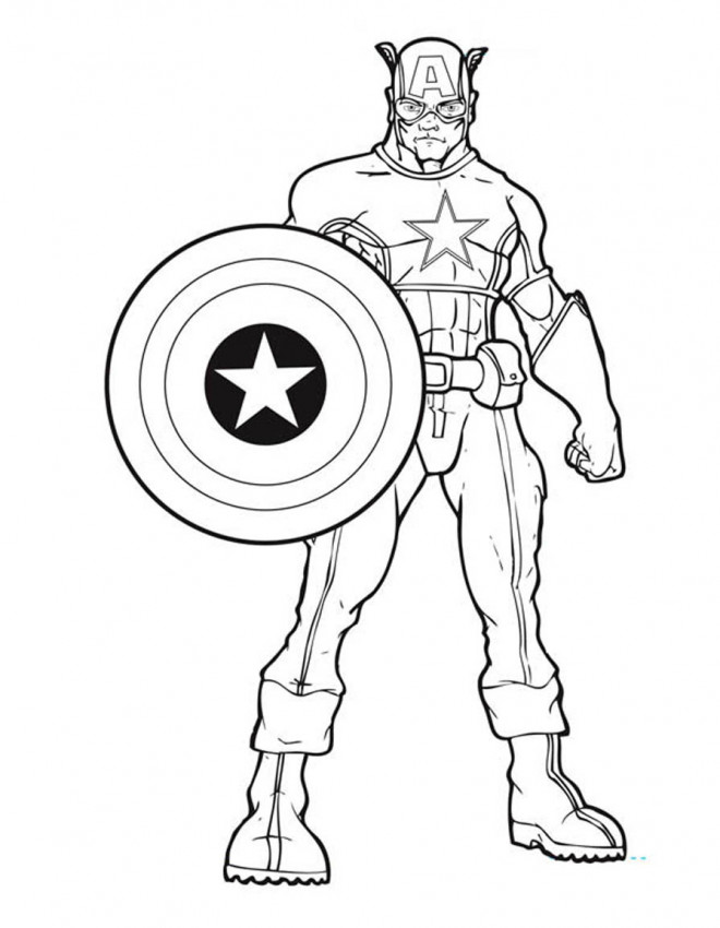 Coloriage Captain America Super Hero Dessin Gratuit A Imprimer