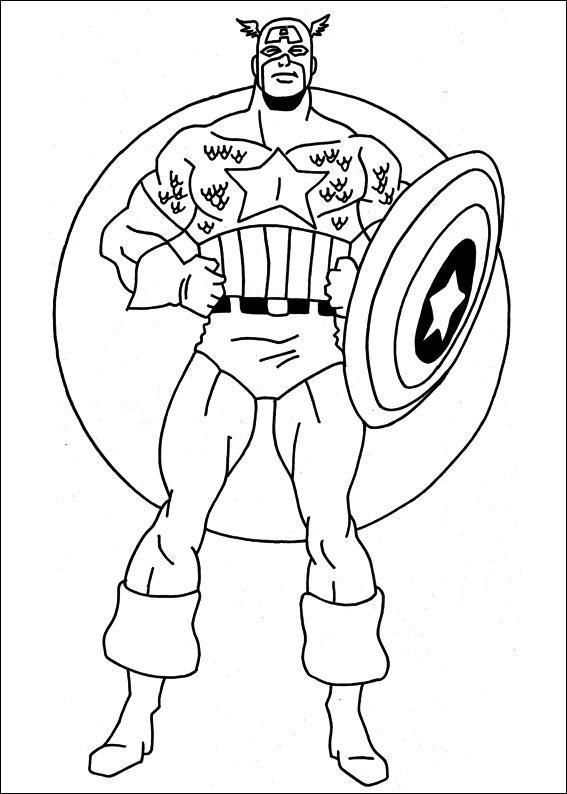 Coloriage et dessins gratuits Captain America tout Confiant à imprimer