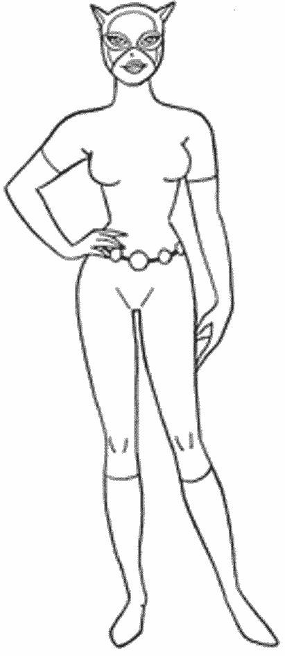 Coloriage et dessins gratuits Catwoman avec Un Masque à imprimer