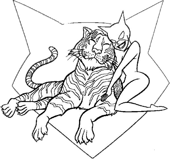 Coloriage Catwoman Et Le Tigre Dessin Gratuit à Imprimer