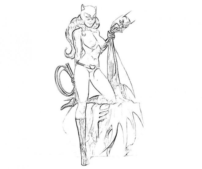 Coloriage Catwoman Réaliste Dessin Gratuit à Imprimer