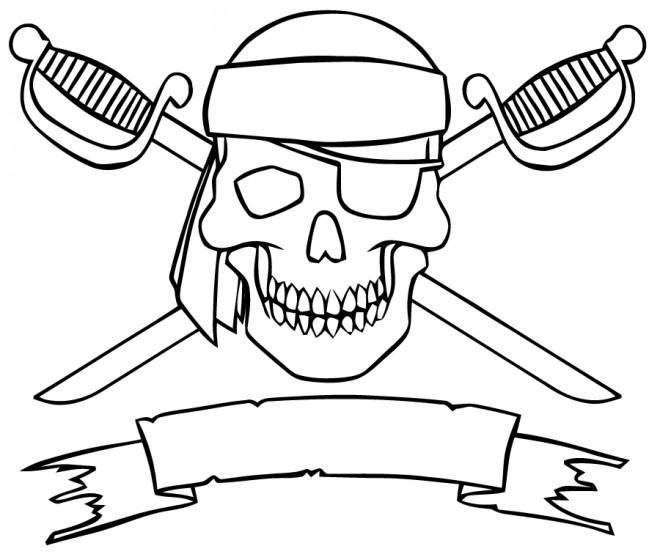 Coloriage drapeau des pirates dessin gratuit imprimer - Dessin de coffre de pirate ...