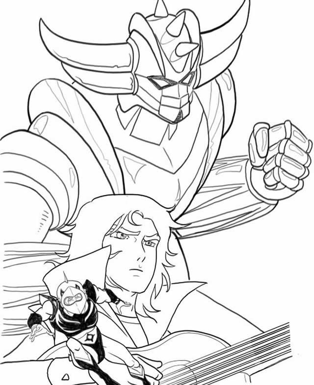 Coloriage et dessins gratuits Goldorak en noir et blanc à imprimer
