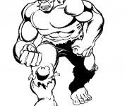 Coloriage et dessins gratuit Avengers Hulk en noir et blanc à imprimer