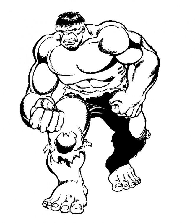 Coloriage Avengers Hulk en noir et blanc dessin gratuit à ...