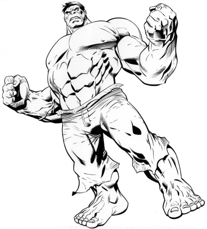 Coloriage Avengers Hulk Stylisé Dessin Gratuit à Imprimer