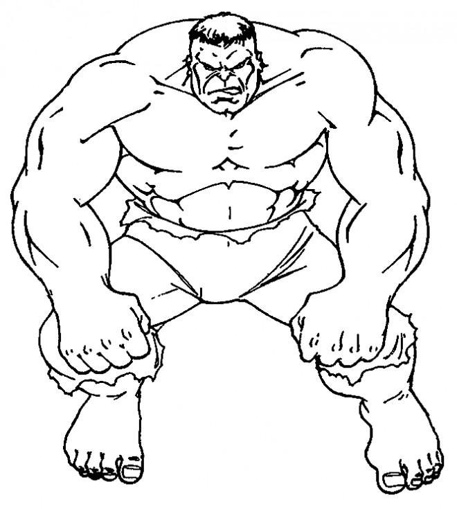 Coloriage et dessins gratuits Hulk en noir et blanc à imprimer