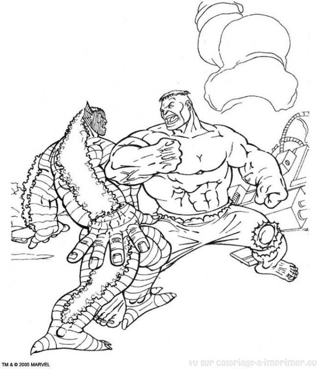 Coloriage et dessins gratuits Hulk et La Bataille à imprimer