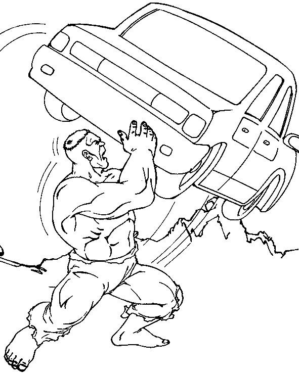 Coloriage et dessins gratuits Hulk porte La Voiture à imprimer