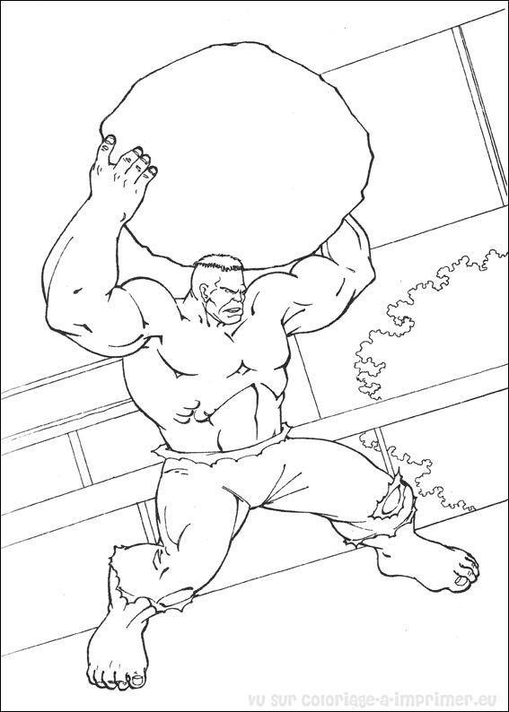 Coloriage et dessins gratuits Hulk porte Une Roche à imprimer