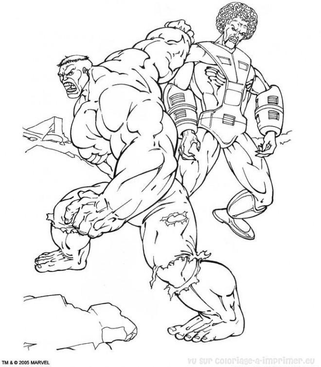 Coloriage Hulk Super Héro dessin gratuit à imprimer