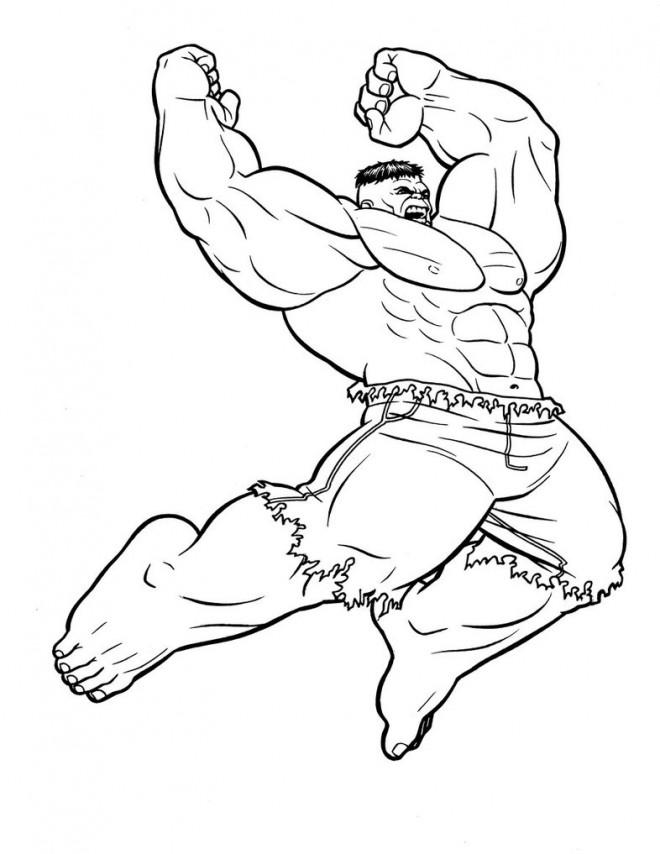 Coloriage Hulk Vert Dessin Gratuit à Imprimer