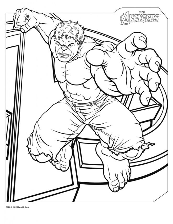 Coloriage et dessins gratuits Hulk vert Avengers à imprimer