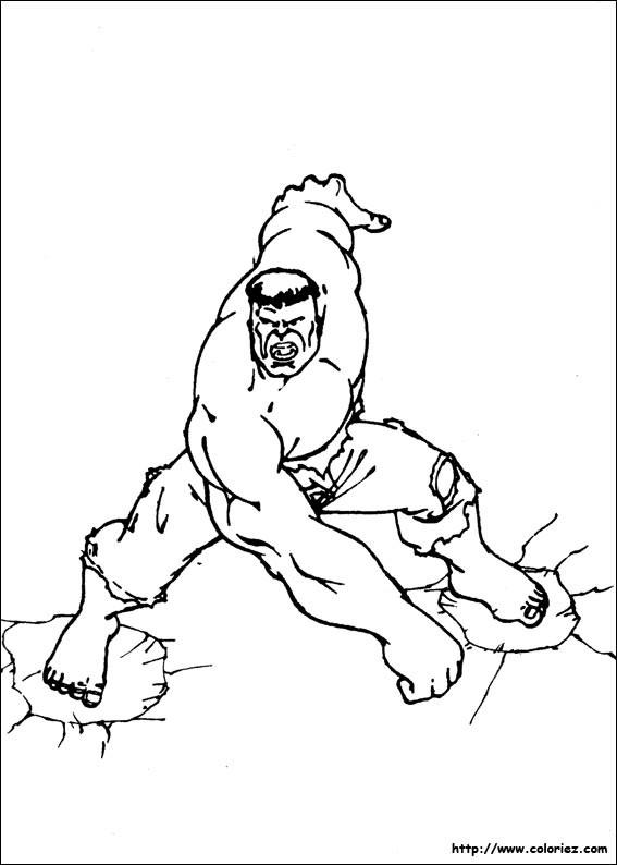Coloriage et dessins gratuits Super Héro Hulk pour adulte à imprimer