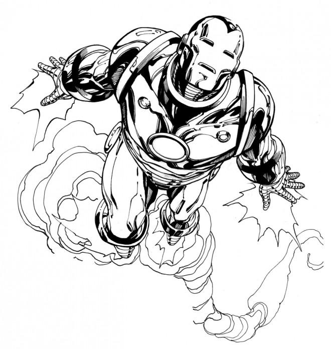 Coloriage et dessins gratuits Iron Man en vol à imprimer