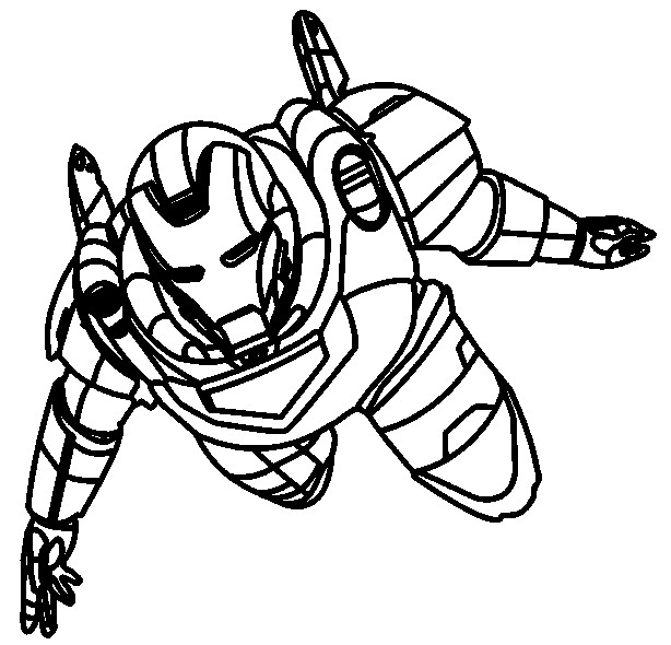Coloriage et dessins gratuits Iron Man en vole à imprimer