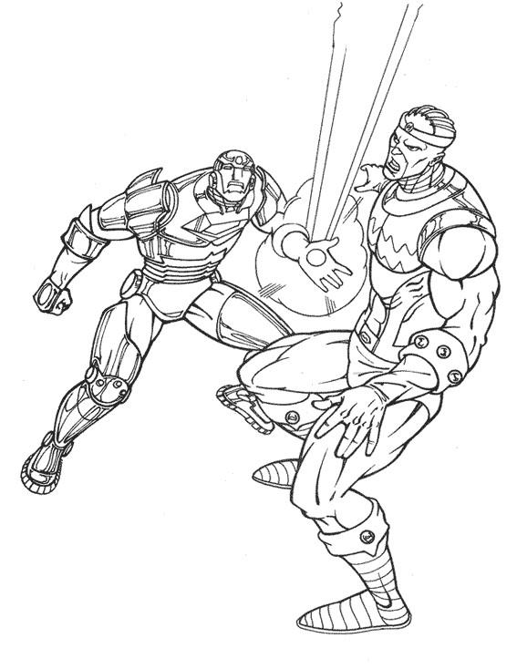 Coloriage et dessins gratuits Iron Man au Combat à imprimer