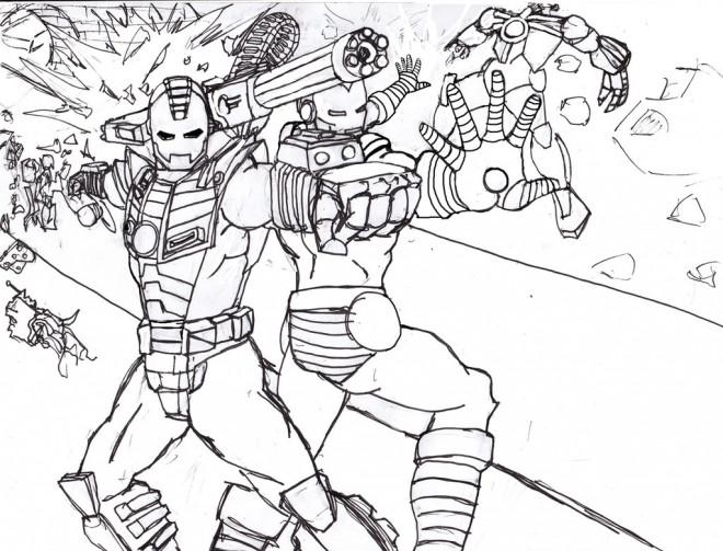 Coloriage et dessins gratuits Iron Man au crayon à imprimer