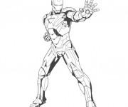 Coloriage Iron Man en noir et blanc