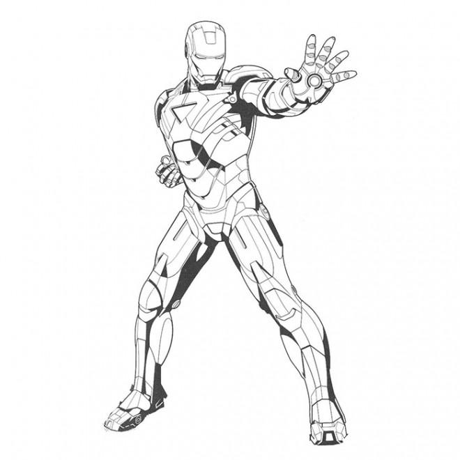 Coloriage iron man en noir et blanc dessin gratuit imprimer - Iron man en dessin anime ...