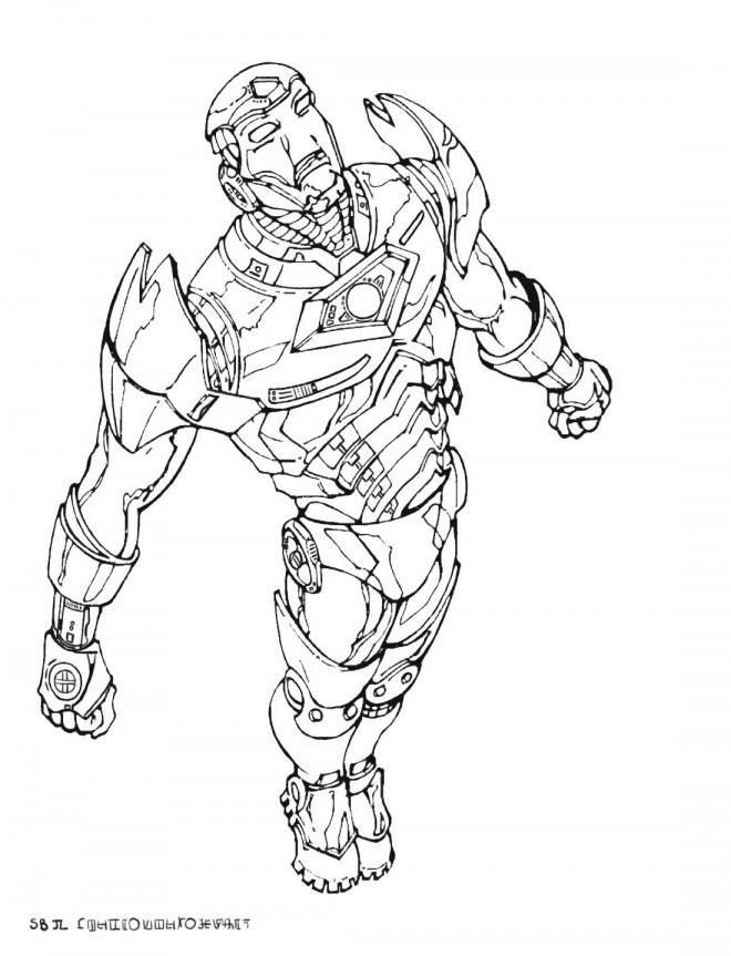 Coloriage et dessins gratuits Iron Man en volant à imprimer