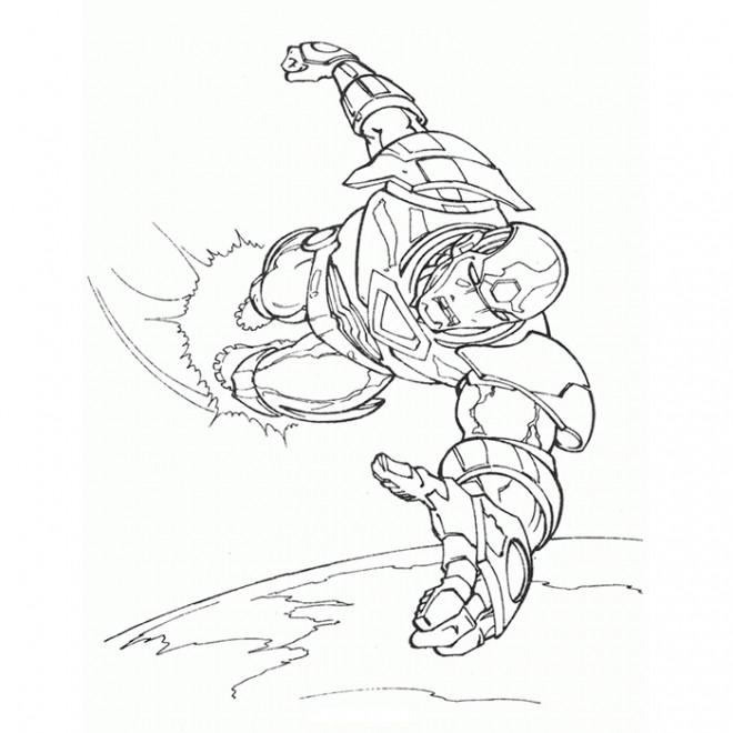 Coloriage et dessins gratuits Iron Man en Volant sur La Terre à imprimer