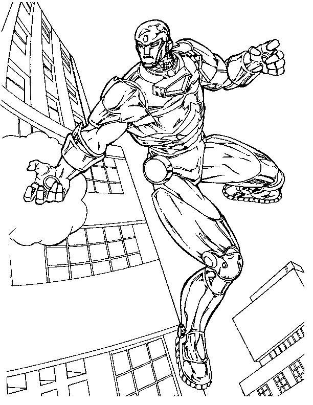 Coloriage et dessins gratuits Iron Man protecteur de La Ville à imprimer