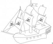 Coloriage Bateau des Pirates facile