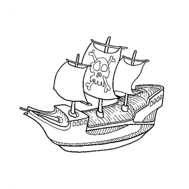 Coloriage bateau pirate facile dessin gratuit imprimer - Bateau jack et les pirates ...
