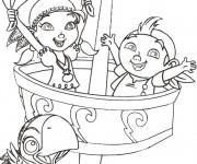 Coloriage Jack et Izzy sur Le Bateau de Pirates