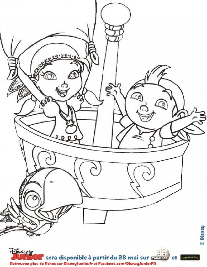 Coloriage et dessins gratuits Jack et Izzy sur Le Bateau de Pirates à imprimer