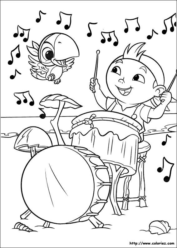Coloriage et dessins gratuits Jack et les Pirates le Frisé Musicien à imprimer