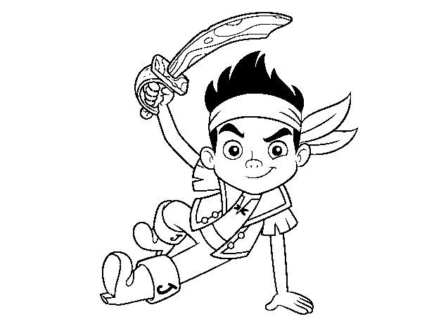 Coloriage et dessins gratuits Jack  le Petit Pirate porte son Épée à imprimer