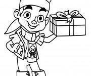 Coloriage Jack le Pirate porte Un Cadeau