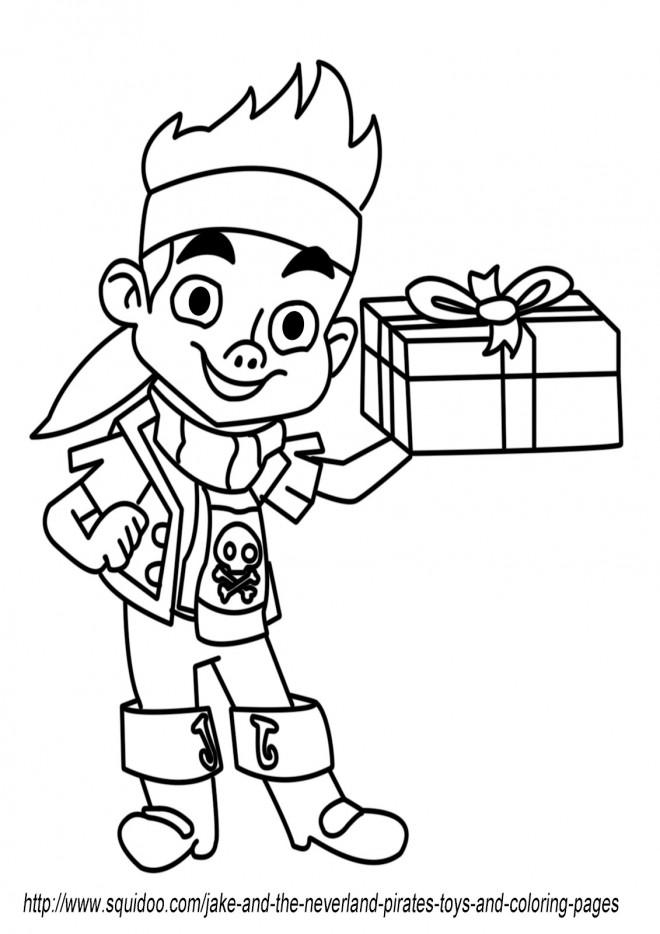 Coloriage et dessins gratuits Jack le Pirate porte Un Cadeau à imprimer