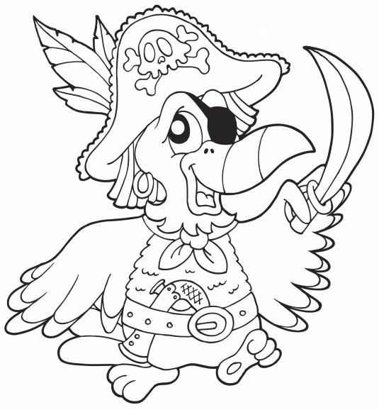 Coloriage et dessins gratuits Le Perroquet des Pirates à imprimer