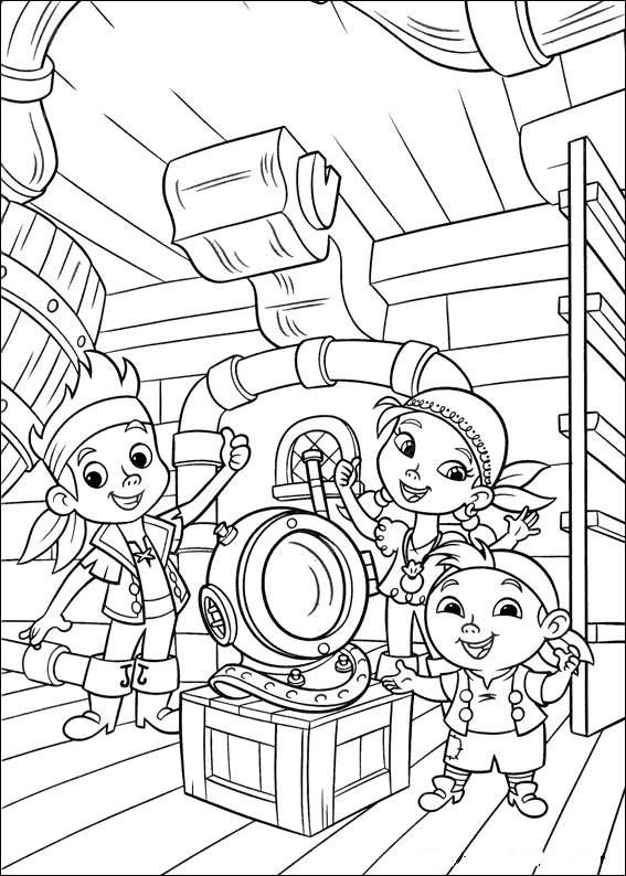 Coloriage les enfants sur bateau des pirates dessin - Jack et le pirate ...