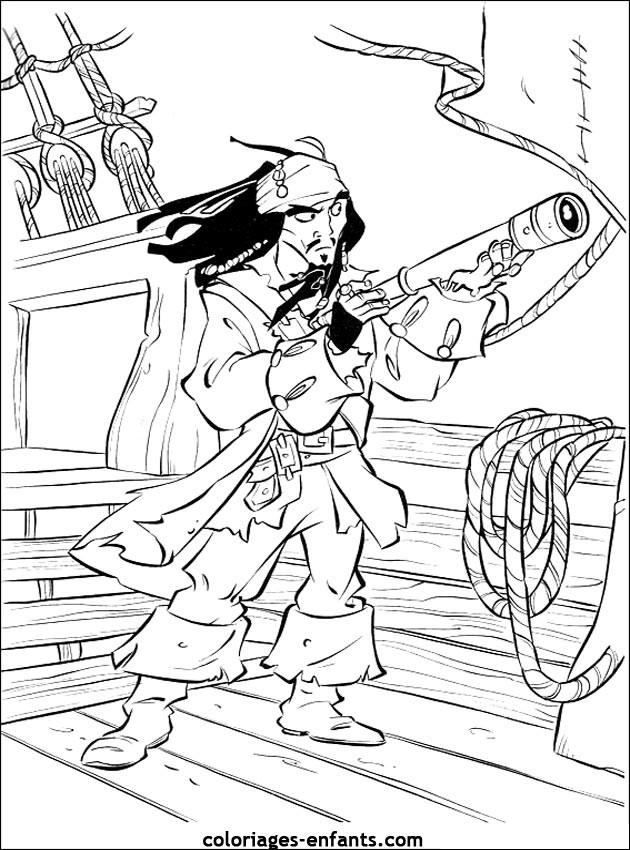 Coloriage pirate des caraibes dessin gratuit imprimer - Dessin pirate des caraibes ...