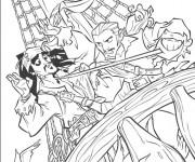 Coloriage Scène de Jack et les Pirates de Caraïbes