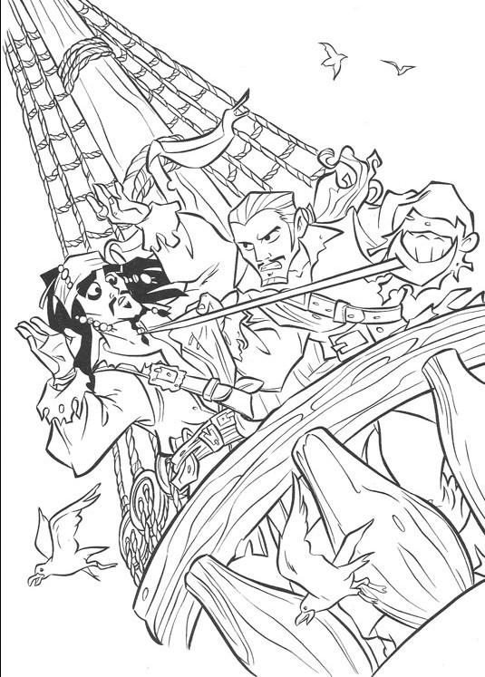 Coloriage et dessins gratuits Scène de Jack et les Pirates de Caraïbes à imprimer