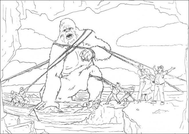 Coloriage et dessins gratuits King Kong capturé à imprimer