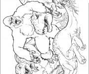 Coloriage et dessins gratuit King Kong et Le Dinosaure à imprimer