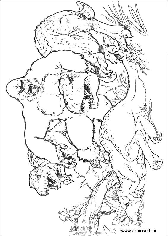 Coloriage et dessins gratuits King Kong et Le Dinosaure à imprimer